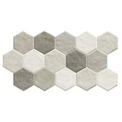 Carrelage tomette effet pierre 26.5x51 cm STONEHENGE HEX FROST - 0.95m²
