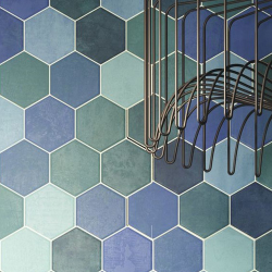 Carrelage tomette colorée style ciment bleu vert 26.5x51 cm HEX AQUAMARINE - 0.95m²