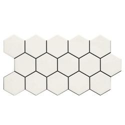 Carrelage tomette blanche mate effet joint noir 26.5x51 cm HEX SNOW - 0.95m²