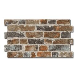 Parement mural cérame style pierre brique 31X56 cm MANHATTAN MARRON - 1.21m² Realonda