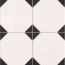 Carrelage mur et sol imitation octogonal à cabochon 33x33 cm OXFORD NEGRO - 1m²