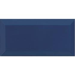Carrelage Métro biseauté marino bleu marine brillant 10x20 cm - 1m²