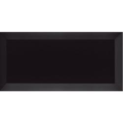 Carrelage Métro biseauté Negro noir brillant 10x20 cm - 1m²