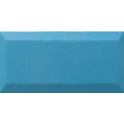 Carrelage Métro biseauté Teal bleu céruléen brillant 10x20 cm - 1m²