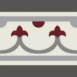 Carrelage imitation ciment bordure décor rouge 20x20 cm PASION CENEFA ROJO - unité