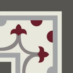 Carrelage imitation ciment coin décor rouge 20x20 cm PASION ESQUINA ROJO - unité