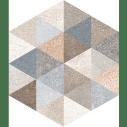 Carrelage hexagonal tomette décor 23x26.6cm FINGAL - 0.504m²
