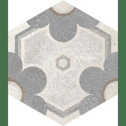 Carrelage hexagonal tomette vieillie décor fleur 23x26.6cm YEREVAN - 0.504m²