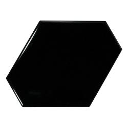 Carreau noir brillant 10.8x12.4cm SCALE BENZENE BLACK - 23833 - 0.44m²