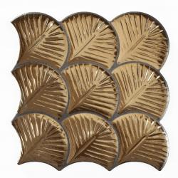 Carreau feuilles dorées brillantes 30x30 SCALE SHELL GOLD - 0.75m²