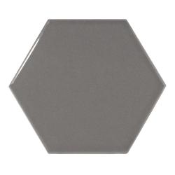 Carreau gris foncé brillant 12.4x10.7cm SCALE HEXAGON DARK GREY 21913 - 0.61m²