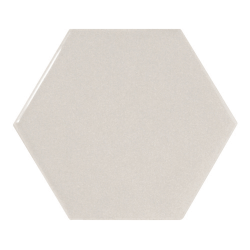 Carreau gris clair brillant 12.4x10.7cm SCALE HEXAGON LIGHT GREY - 21912 - 0.61m²