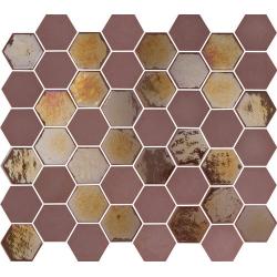 Mosaique mini tomette hexagonale rouge bordeaux 25x13mm SIXTIES BURGUNDY - 1m² Togama