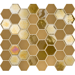 Mosaique mini tomette hexagonale dorée 25x13mm SIXTIES MUSTARD - 1m²
