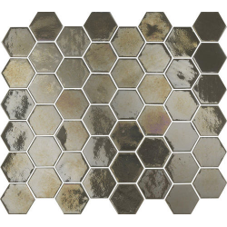 Mosaique mini tomette hexagonale marron gris 25x13mm SIXTIES PEARL TAUPE - 1m²