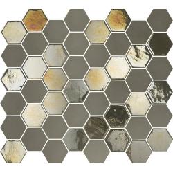 Mosaique mini tomette hexagonale beige nuancé 25x13mm SIXTIES TAUPE - 1m²
