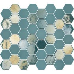 Mosaique mini tomette hexagonale bleu vert 25x13mm SIXTIES TURQUOISE - 1m²