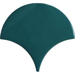 Carreau écaille bleu canard 12.7x6.2 SQUAMA EMERALD pour sol - 0.35m²