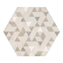 Carrelage hexagonal décor beige 29.2x25.4cm URBAN FOREST NATURAL 23618 R9 - 1m²
