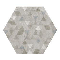 Carrelage hexagonal décor gris 29.2x25.4cm URBAN FOREST SILVER 23615 R9 - 1m²