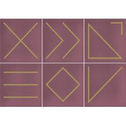 Faïence géométrique rose 23x33.5 cm NAGANO MARSALA - 1m²