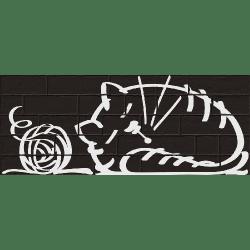 Parement mural briquettes original motif chat Marlon Nuney Noir 20x50cm - 4 pièces