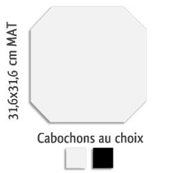 Carrelage octogonal rectifié 31.6x31.6 blanc mat et cabochons MONOCOLOR ALASKA - 1m² Vives Azulejos y Gres