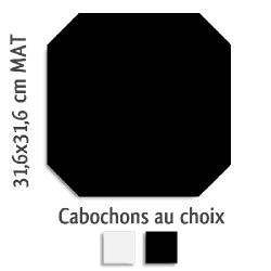 Carrelage octogonal rectifié 31.6x31.6 noir mat et cabochons MONOCOLOR NEGRO - 1m² Vives Azulejos y Gres