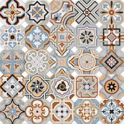 Carrelage octogonal décoré 20x20 mat et cabochons MUSICHALLS - 1m²