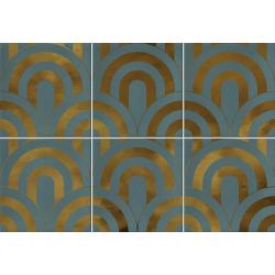Faïence écaille turquoise/or 23x33.5 TAKADA TURQUESA ORO - 1 unité