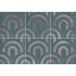 Faïence écaille turquoise/argent 23x33.5 TAKADA TURQUESA PLATA - 1 unité
