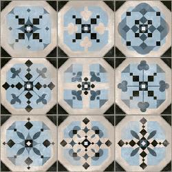 Carrelage imitation cabochons décoré bleu 31x31 cm STANLEY - 1m²