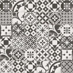 Carrelage en patchwork motif ancien 20x20 cm Berkane Negro - 1m²