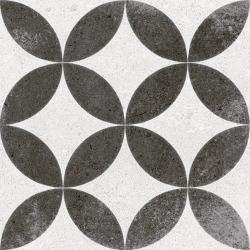 Carrelage style ancien Quatre-feuilles 20x20 cm KERALA Noir - 1m²