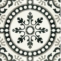 Carreau de ciment décor rosace noire 20x20 cm ref7620-1 - 0.48m²