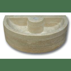 Demi vasque pierre travertin beige avec trou de robinet 42x26x12 cm