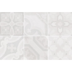 Carrelage imitation ciment 20x20 cm ESCAMETTE BLANC - 1m²