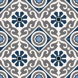 Carrelage style ancien ciment MADRAS BLUE 33x33 cm - 1.32m²