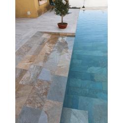 Carrelage piscine effet pierre naturelle SAHARA MIX 30x60 cm R9 - 1.26 m²