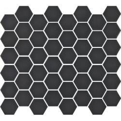 Mosaïque mini tomette hexagonale 30x30 cm SIXTIES BLACK mate - 1m²