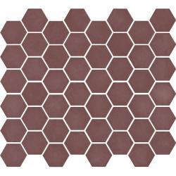 Mosaïque mini tomette hexagonale 30x30 cm SIXTIES BURGUNDY mate - 1m²