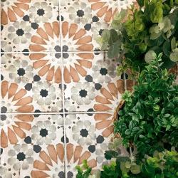 Carrelage aspect ciment décoré vieilli 20x20 cm STRYMON - 0.52 m²