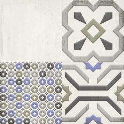 Faïence aspect carreau de ciment vieilli MELROSE PATCHWORK WHITE 25x25 - 0,94 m²