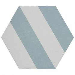 Tomette blanche à rayure MERAKI STRIPE AGUAMARINA 19.8x22.8 cm - 0.84m²