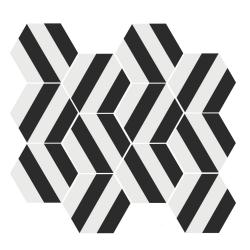 Tomette blanche à rayure grise MERAKI STRIPE NEGRO 19.8x22.8 cm - 0.84m²