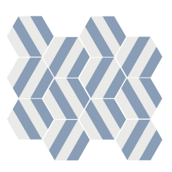 Tomette blanche à rayure MERAKI STRIPE AZUL 19.8x22.8 cm - 0.84m²