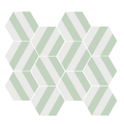 Tomette blanche à rayure MERAKI STRIPE VERT 19.8x22.8 cm - 0.84m²