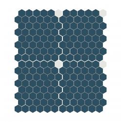 Mosaïque mini tomette hexagonale 30x30 cm SIXTIES SHAPES mate Blue & White - 1 m²