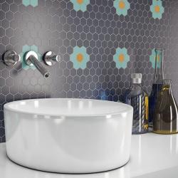 Mosaïque mini tomette hexagonale 30x30 cm SIXTIES SHAPES mate FLOR 60Y - Turquoise, Blue, Moutarde - 1 m²
