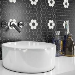 Mosaïque mini tomette hexagonale 30x30 cm SIXTIES SHAPES mate FLOR 60Y - Black&White - 1 m²
